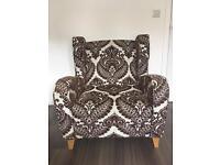 DFS Brown/White pattern arm chair