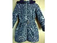 Leopard print girls winter coat (age 9/10)