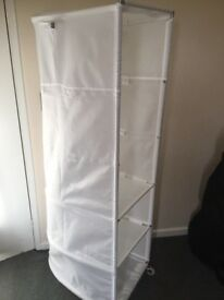 Freestanding canvas and metal IKEA wardrobe
