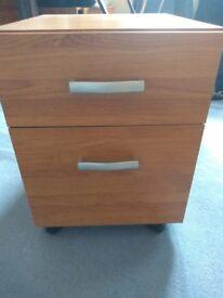 2 teak office filing cabinets