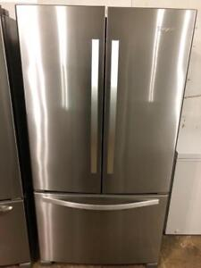 USED (Only Two Weeks Old) $2200 reduced to $1145 Whirlpool Stainless Steel French Door Fridge With Water and Ice Maker