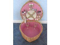 Debenhams Heart Shaped Woven Basket Picnic Hamper