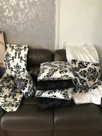 Brand new Damask black & white Silk velvet set
