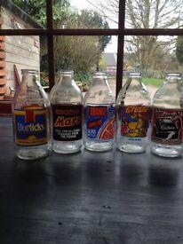 Retro 1970 Milk Bottles