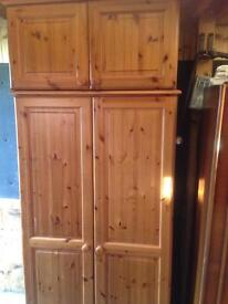 Solid pine wardrobe and top box