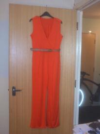 """BRAND NEW Orange Jumpsuit. 36"""" Bust 28"""" Waist"""