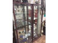 display glass cabinet with light and back mirror