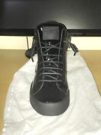 Men's giuseppe zanottis black patent leather high tops, size 8.5