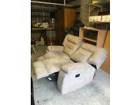 Suede 2 seater recliner sofa