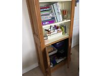 Pine book case made by Victoria pine, Cream painted inside when made.