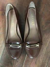 Office brown leather loafers size 5