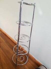 Silver metal shelves