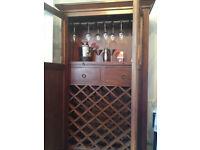 Solid Wood Wine Cocktail Cabinet Bar French Doors 39 Bottles