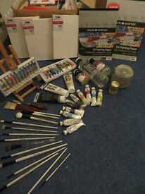 Oil Painting KIT: supplies, paints, brushes, and canvas!!!!!!
