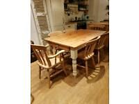 Beautiful pine farmhouse dining table and 6 chairs