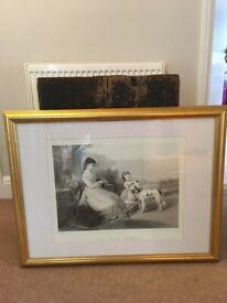 "Large glass framed print in an elegant gold frame, ""Two Good Friends"" 69x89cm"