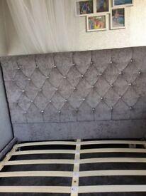 Double grey velvet bed base with diamanté studs