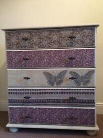Shabby chic pine drawers with decoupage