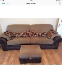 **2 x 4 Seater sofas with storage footstool for sale
