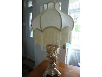 Vintage Large Cherubs Ornate Cream Lamp