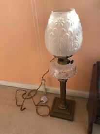 Vintage antique brass and opaque glass lamp