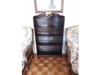 Antique Solid Oak Wood Wooden Bookcase Book Case Dark Brown Furniture