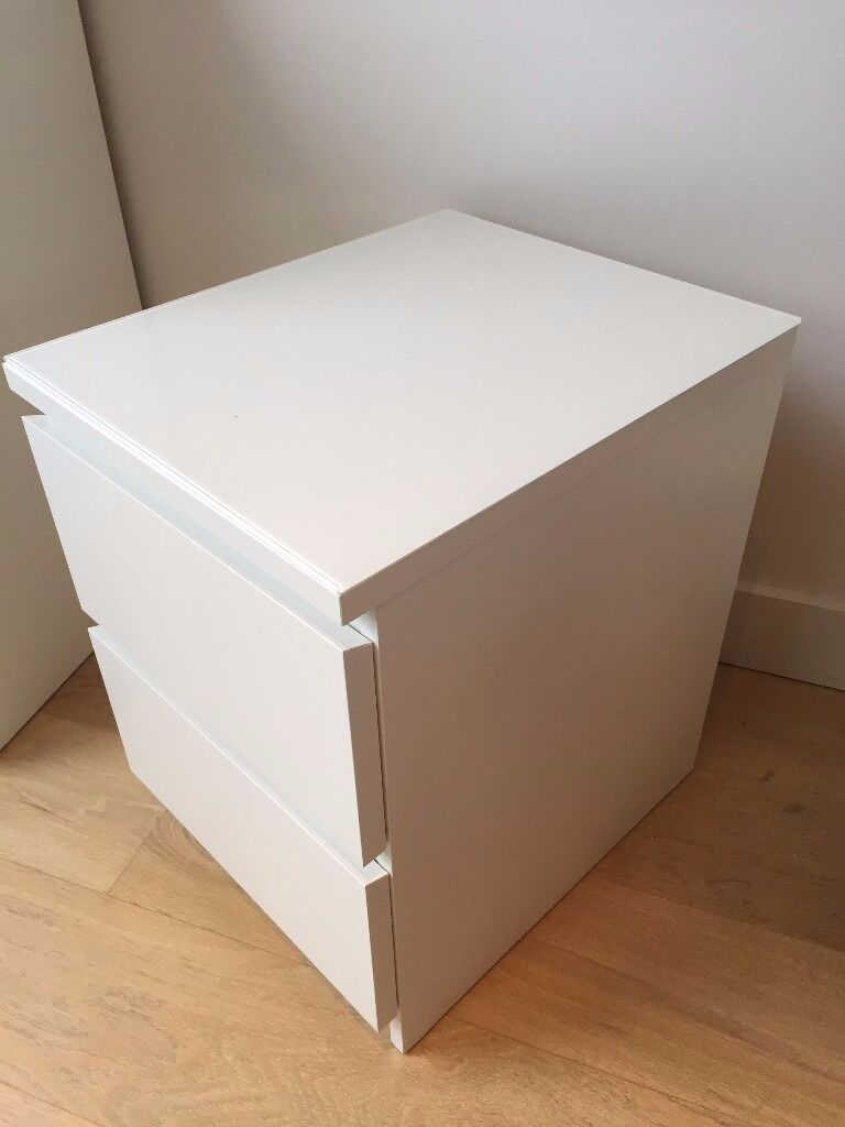 Ikea Malm Bedside Table Gl Top Only Together