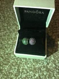 Pandora Charms - green one only, purple sold