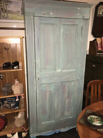 Delightful Vintage Tall Solid Pine Shabby Chic Distressed Look Linen Press Cupboard