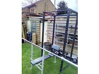 Weight squat rack, bench and weights plus a chin up bar. All in excellent working condition.