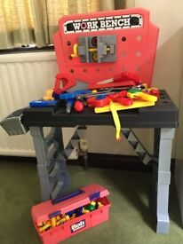 Child's toy work bench and tool box