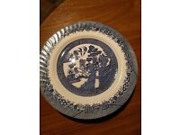 9 Blue And White Dinner Plates Used 7 Willow Pattern 2 Myotts Countryside Pattern