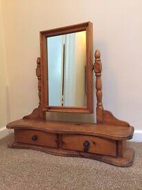 Wooden pine dressing table top vanity mirror
