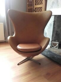 Retro leather tanned egg chair