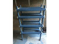 Free standing tiered shelving