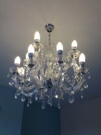 Chandelier - glass with 12 lamps