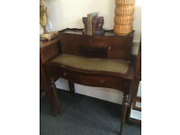 Appealing Antique Regency Style Bow Front Mahogany Ladies Writing Desk