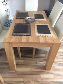 Oak Veneer Table with 4 cream leather chairs
