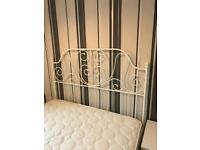 King size white metal bed