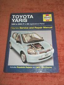 toyota yaris haynes workshop manual 1999 to 2005 petrol.
