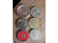 Assorted commemorative coins and old notes including armed forces vouchers £5 £2 bargain cheap
