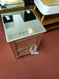 Schreiber Cranbourne 2 Drawer Bedside Chest - Mirrored