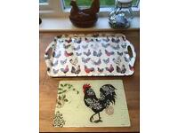 Ulster Weavers Rooster Tea Tray, Tea Cosy & Rooster Glass Worktop Protector