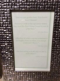 Wedding table decorations Framed love quotes Centre pieces
