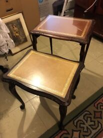 Leather & Glass Top Nest of Tables (Set of 2)