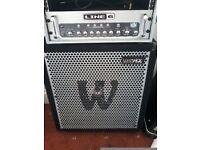 Bass guitar half stack - warwick neo pro 411nd 800w cab & line 6 lowdown 400hd 400w head