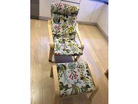 Armchair and footstool Ikea Poang range 2014