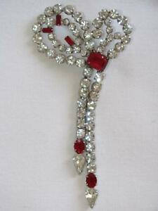 Vintage Rare Signed Rhinestone Bow Pin Brooch Pendant