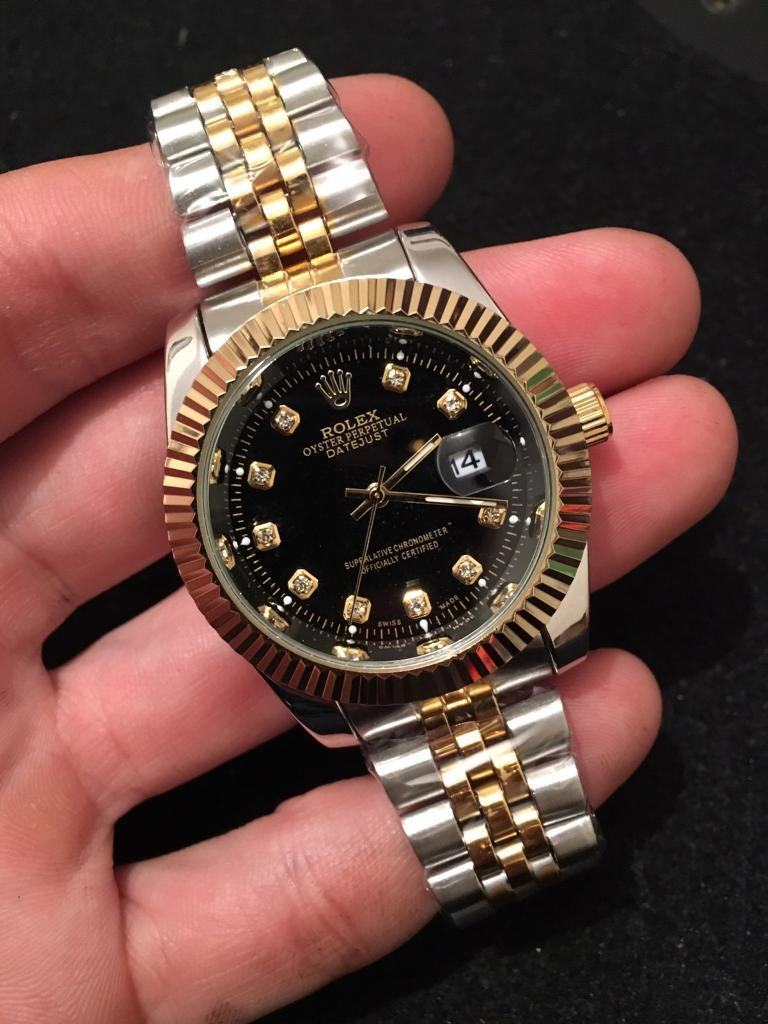 Rolex Oyster Perpetual Datejust Gold Black Face