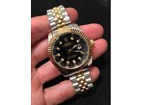 Rolex datejust watch, unisex 39mm NEW silver and gold (black face)